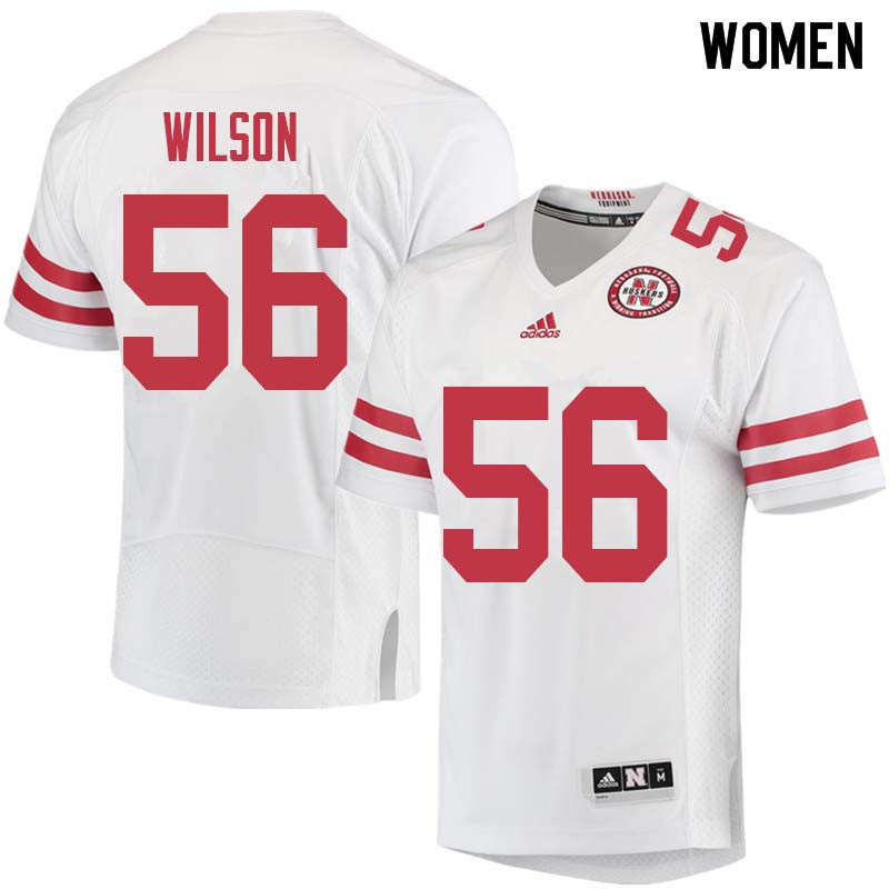 Women #56 Boe Wilson Nebraska Cornhuskers College Football Jerseys Sale-White